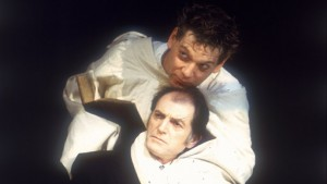 Kenneth Branagh as Hamlet in a straitjacket, in the 1992 RSC production.