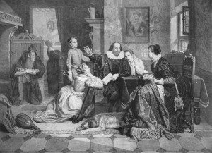 "Paternalistic Shakespeare reads ""Hamlet"" to his family, in a 19th century engraving that likely has no basis whatsoever in fact."