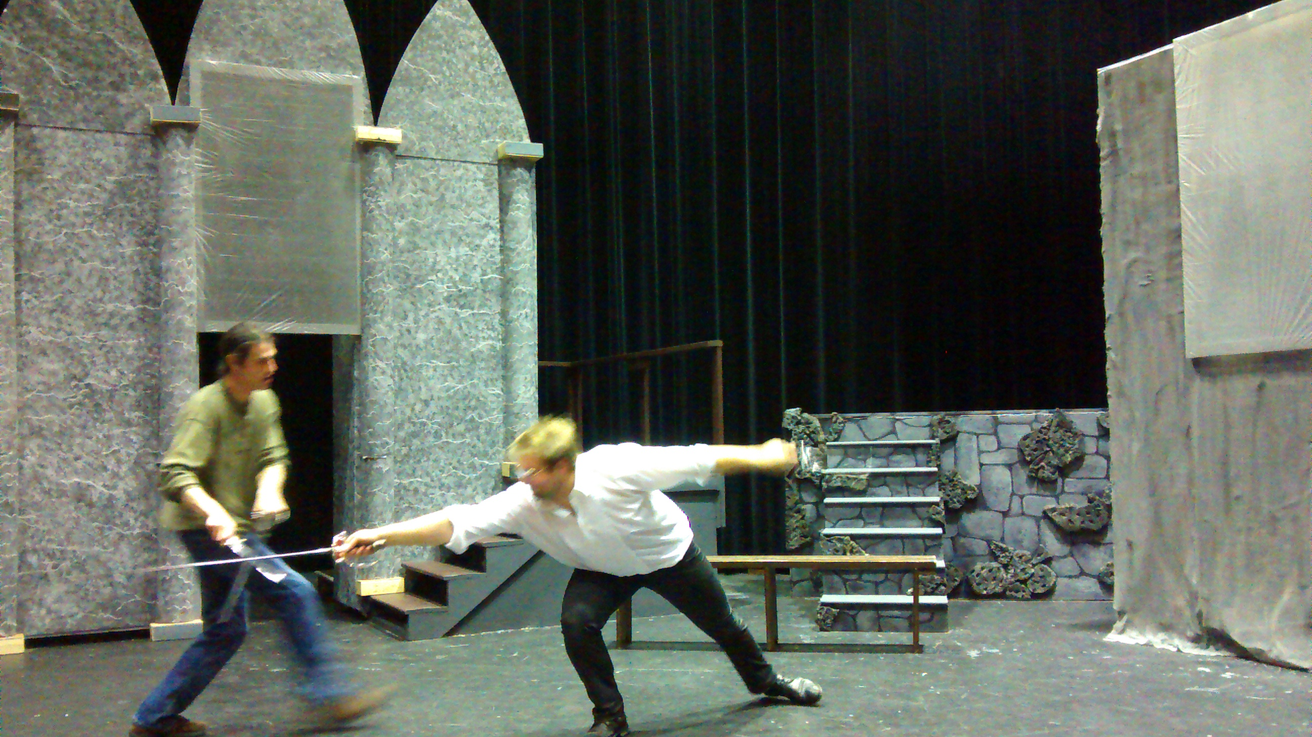 Eric Letcher and Wesley J. Colford practice the final duel at the tail end of a long Hamlet rehearsal.
